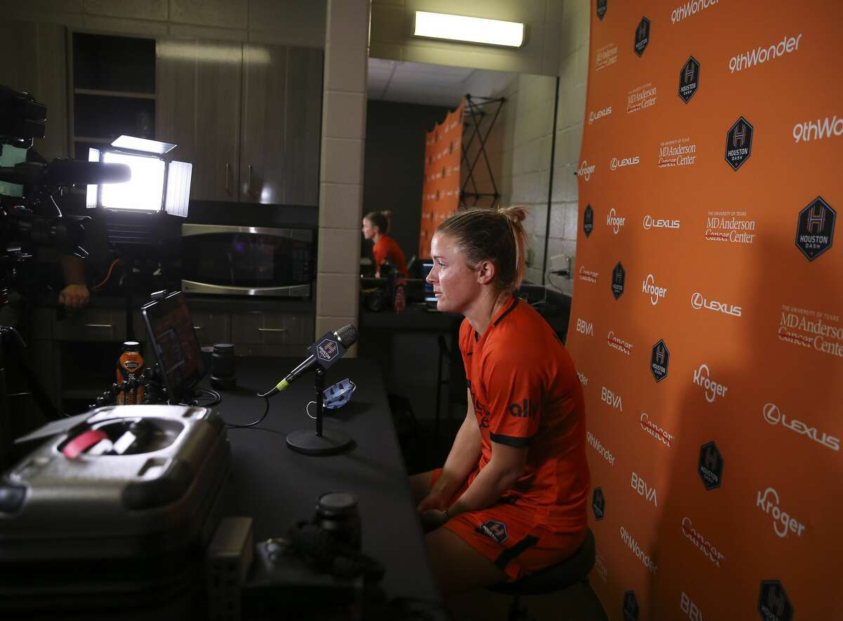 Houston Dash midfielder Christine Nairn (10) does her last post-game Zoom press conference after an international friendly match against Tigres Femenil Sunday, Sept. 19, 2021, at BBVA Stadium in Houston. Nair is set to retire and start her new career at the Houston Fire Department Academy before 6 a.m. on Monday.