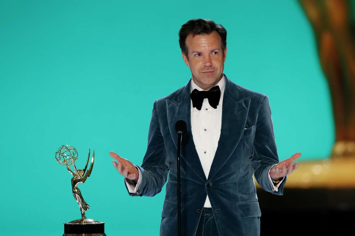 """Jason Sudeikis from """"Ted Lasso"""" appears at the 73rd Emmy Awards."""