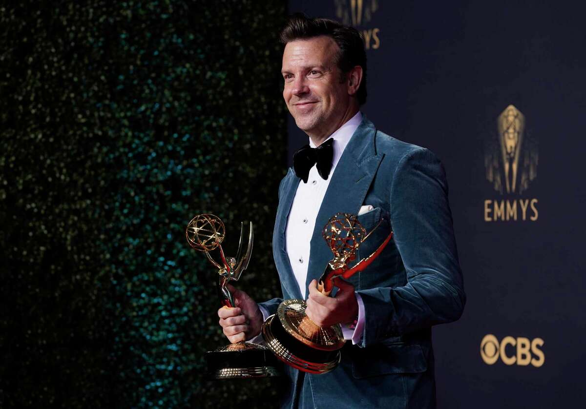 """Jason Sudeikis poses for a photo with the award for outstanding lead actor in a comedy series for """"Ted Lasso"""" at the 73rd Primetime Emmy Awards on Sunday, Sept. 19, 2021, at L.A. Live in Los Angeles."""