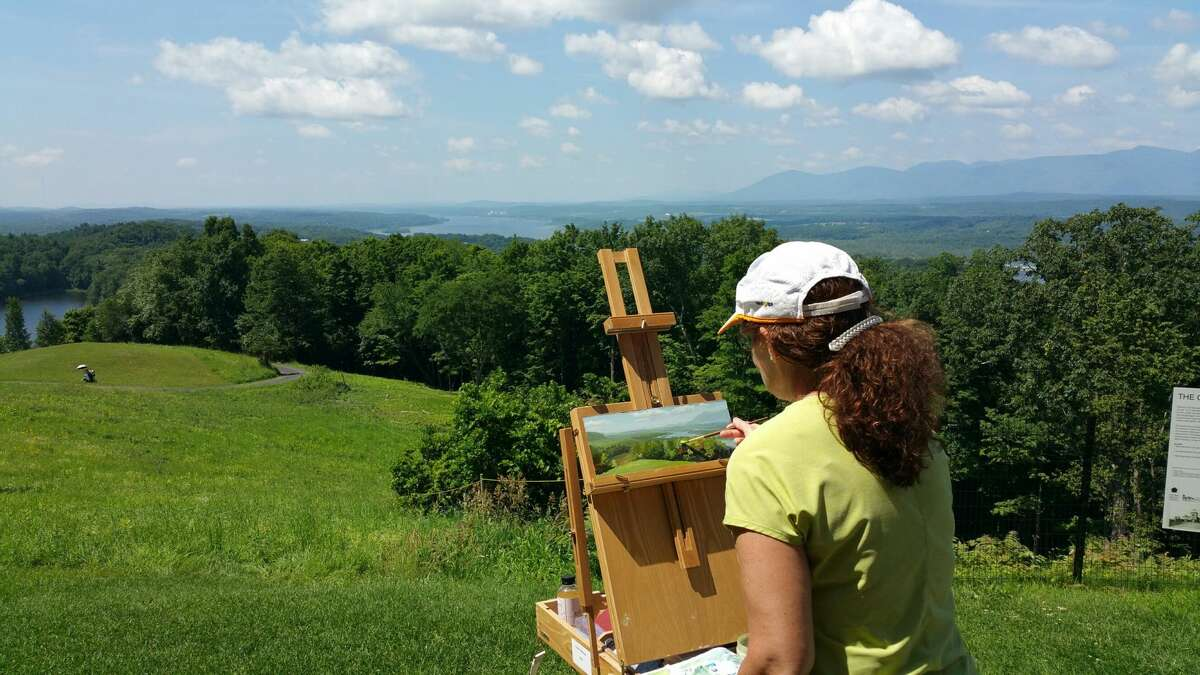 An artist sets up at Olana State Historic Site earliuer this month. (Olana State Historic Site)