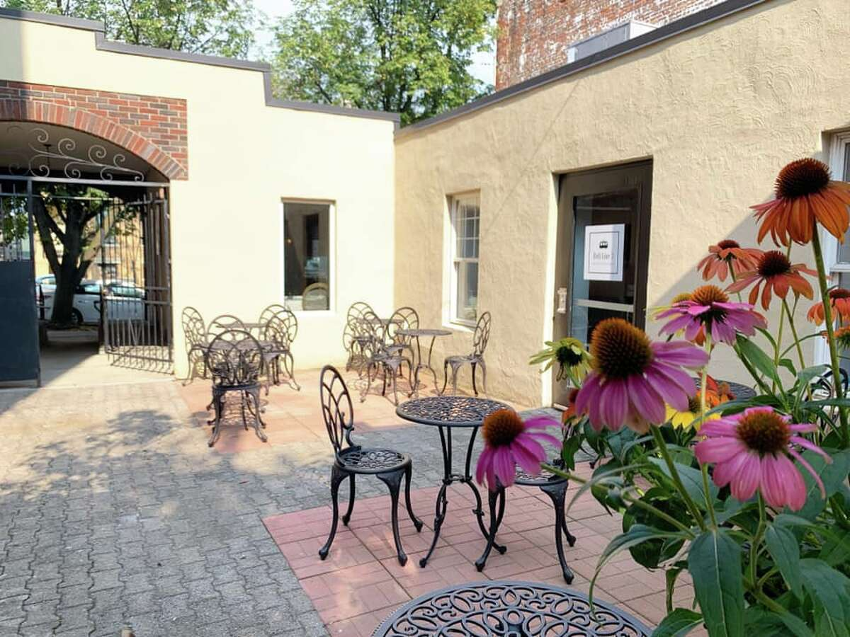 The courtyard at Belt Line 3 Restaurant & Bar in Albany. The name is derived from a trolley route that ran along Hamilton Street.