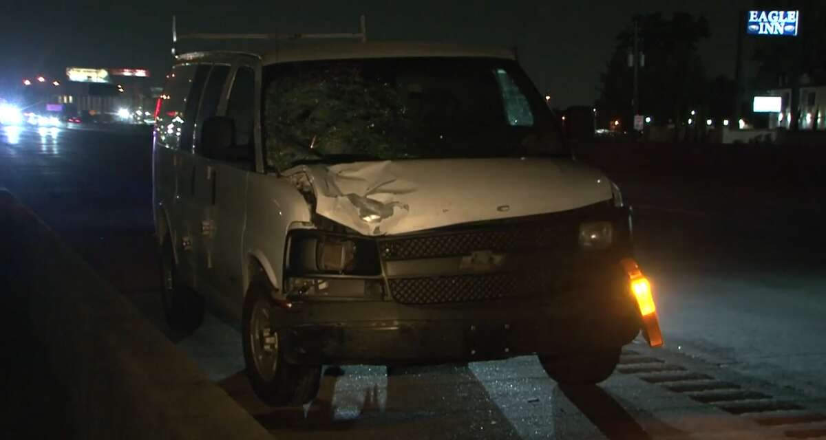 Police believe this van hit and killed a man Sept. 20, 2021, trying to cross Interstate 45.