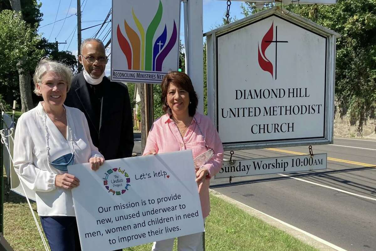 The Rev. Cedric Johnson, center, with Lucy Langley, left, and Laura Delaflor, right, who are the co-founders of The Undies Project. The Diamond Hill United Methodist Church in Greenwich is the new home for the nonprofit.