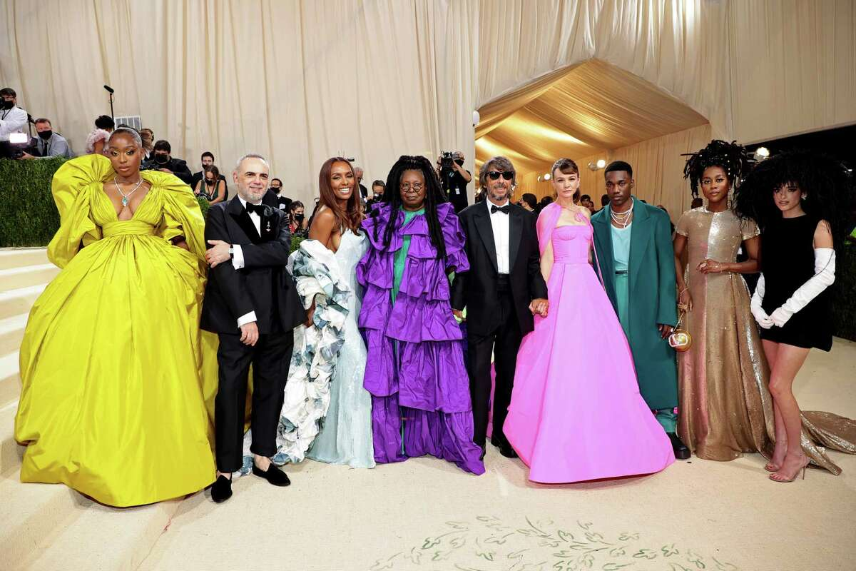Normani, from left, Jacopo Venturini, Janet Mock, Whoopi Goldberg, Pierpaolo Picciolo, Carey Mulligan, Giveon, Tomi Adeyemi, and Dixie D'Amelio attend The 2021 Met Gala Celebrating In America: A Lexicon Of Fashion at Metropolitan Museum of Art on Sept. 13, 2021 in New York City.