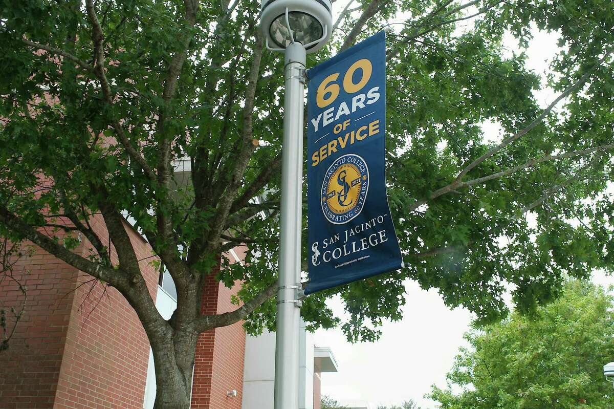 Poll banners celebrating San Jacinto College 60 years of service are visible on on campus.