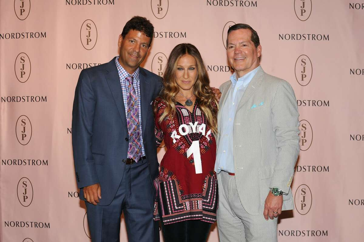 Sarah Jessica Parker poses with Nordstrom Roosevelt Field Store Manager Mike Price. and Manolo Blahnik CEO George Malkemus. during SJP Collection event at Nordstrom Roosevelt Field on August 23, 2014 in Garden City City.