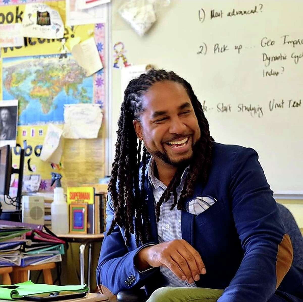 """A question Cook often gets from skeptical students in his Black history class is, """"Why are you making this about me when I didn't have anything to do with [slavery]?"""" He relishes the opportunity to help students understand the value of learning history and applying it to current events."""