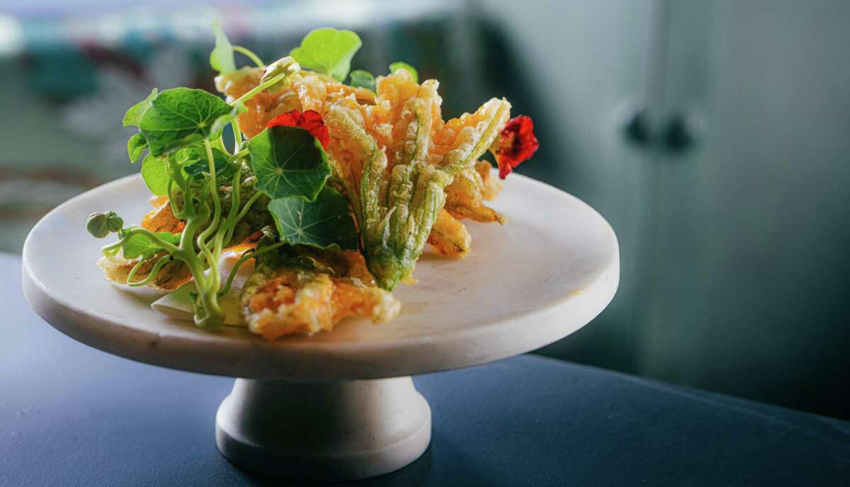 Crispy squash blossoms stuffed with Oaxacan cheese and mint are on the new menu at Boulevard in San Francisco.