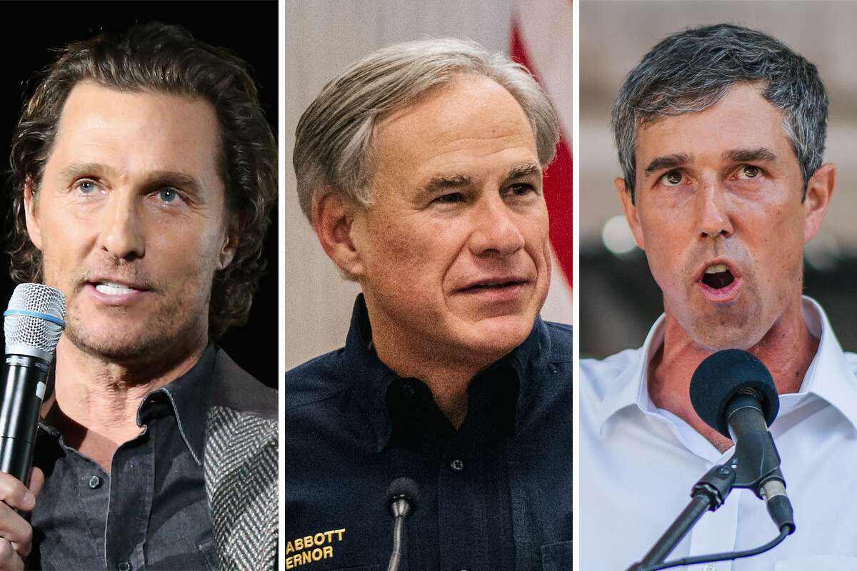 Matthew McConaughey (left), Greg Abbott (center) and Beto O'Rourke (right) are pictured together in this composite image.
