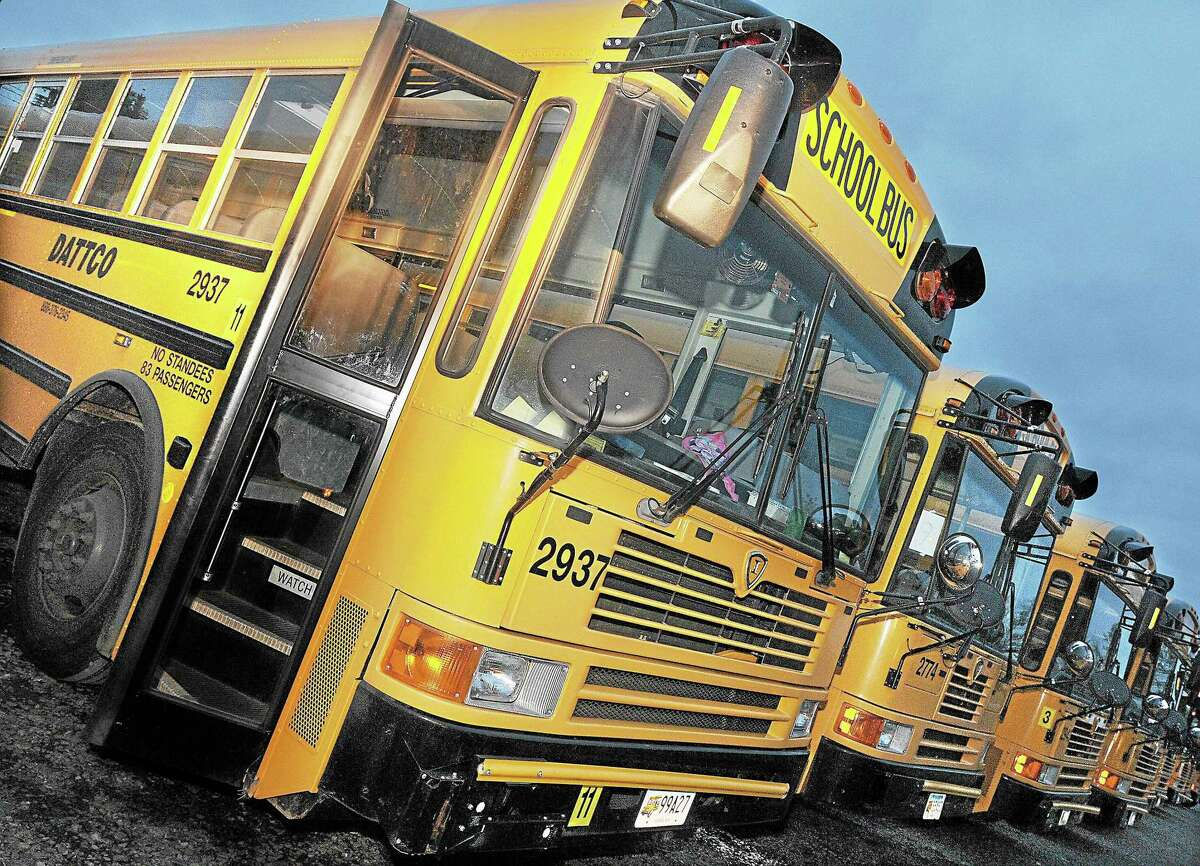Dattco school buses in a recent photo.