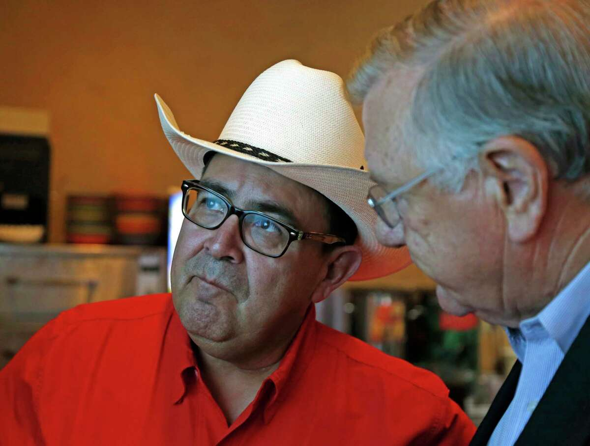 Republican Pete Flores, a retired Texas game warden, at his July 31, 2018, election night watch party at Don Pedro Mexican Restaurant in San Antonio.