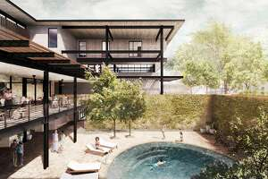 The courtyard pool will feature a wall high enough to provide plenty of privacy fro guests.