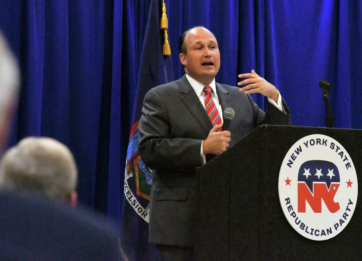 New York State Republican Party Chairman Nicholas Langworthy address the audience during a state GOP reorganization meeting on Monday, Sept. 20, 2021, at the Marriott Albany in Colonie N.Y.