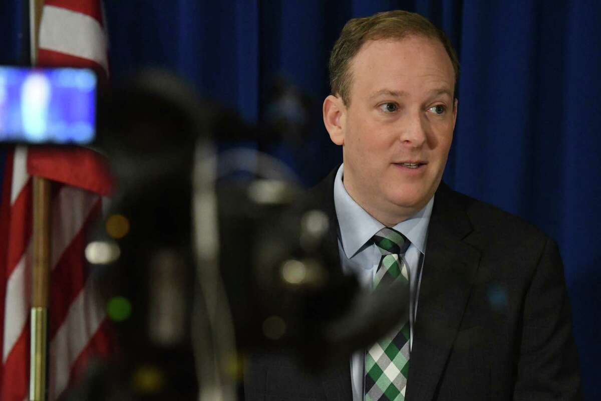 U.S. Rep. Lee Zeldin, the New York State Republican Party?•s pick to run for governor, holds a press conference during a state GOP reorganization meeting on Monday, Sept. 20, 2021, at the Marriott Albany in Colonie N.Y.
