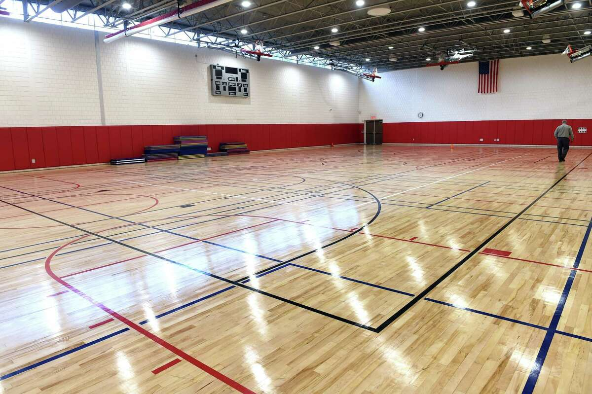 One of two renovated gymnasiums at the Francis Walsh Intermediate School in Branford photographed on September 14, 2021.