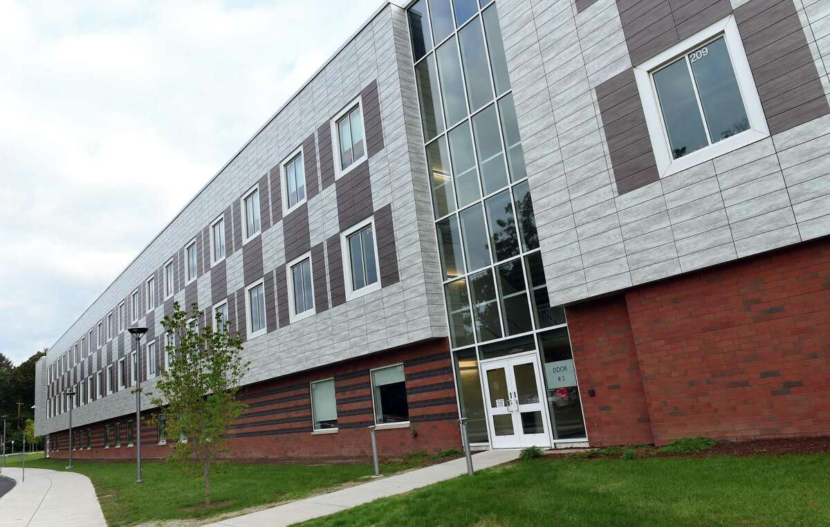 The exterior of the new section of the Francis Walsh Intermediate School in Branford on September 14, 2021.
