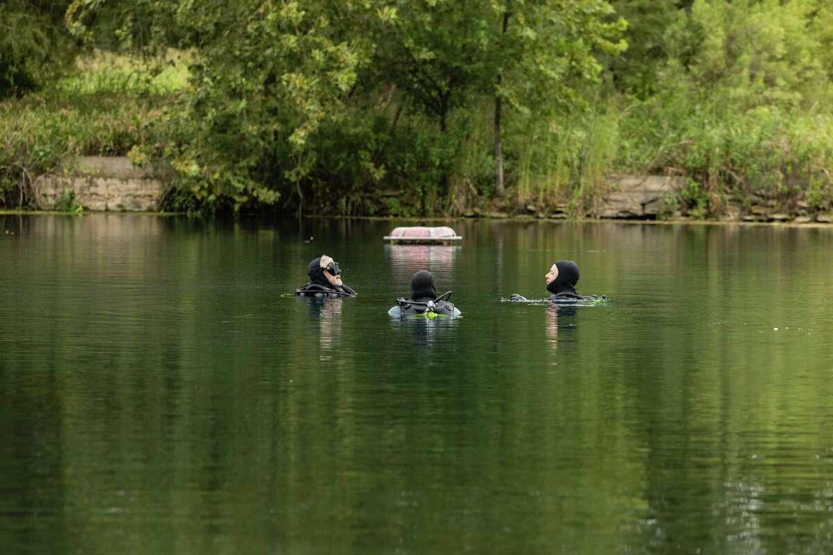 Volunteer divers practice scuba diving Wednesday in Spring Lake in San Marcos.