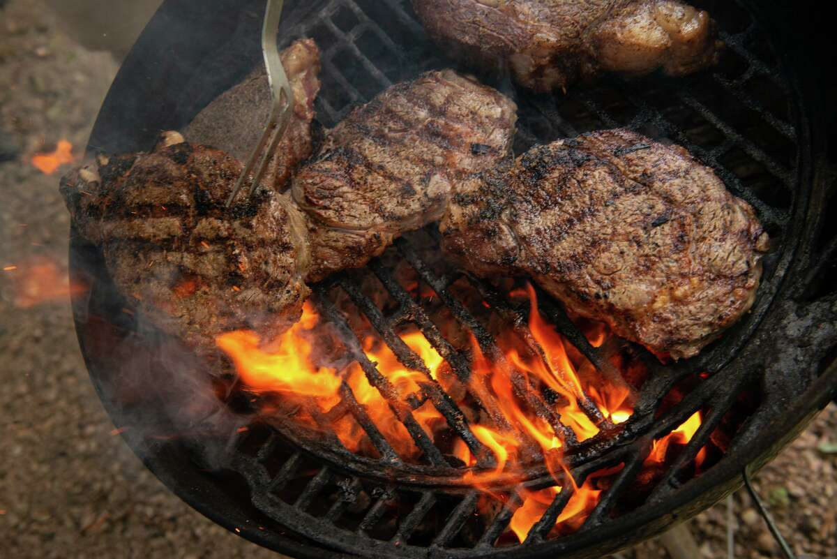 Rib-eye steaks of varying thickness were grilled in Chuck's Food Shack.