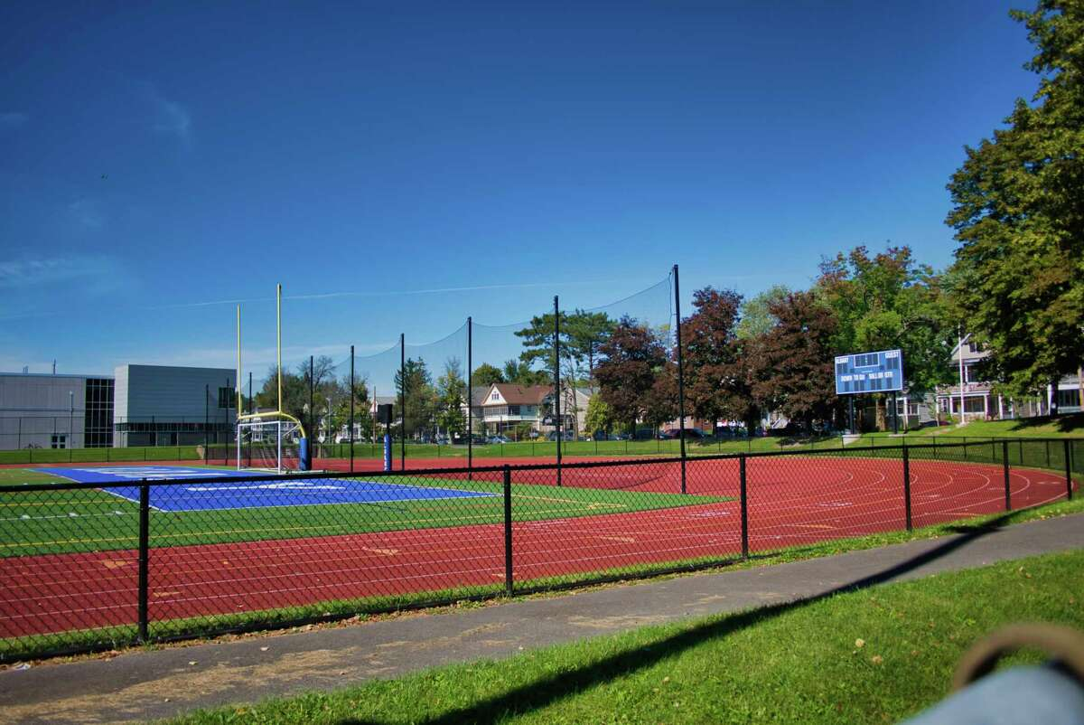 A view of the Albany High School football field on Monday, Sept. 20, 2021, in Albany, N.Y. The football team hopes to start its season on Oct. 1.