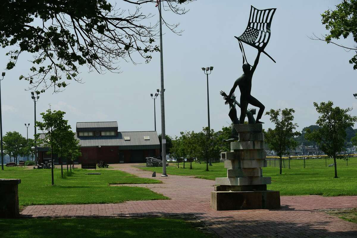 """The area where there is a proposal to add a Purple Heart monument scene through the statue called """"Denial of War"""" at Veteran's Park Friday, July 16, 2021, in Norwalk, Conn."""