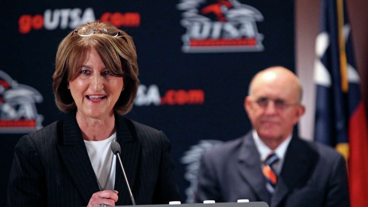 Athletics Director Lynn Hickey introduces Larry Coker as the first head football coach at UTSA on March, 6, 2009.