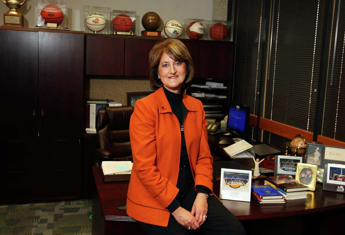 UTSA Asst VP/Director of Athletics Lynn Hickey, who is the Express-News Sportswoman of the Year for 2010, Friday Dec. 17, 2010 in her office.