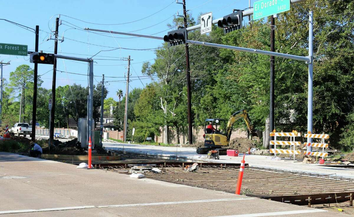 The crossover at El Dorado Boulevard and Brook Forest Drive is prepared for concrete as part of a project to widen El Dorado between Horsepen Bayou to Clear Lake City Boulevard.