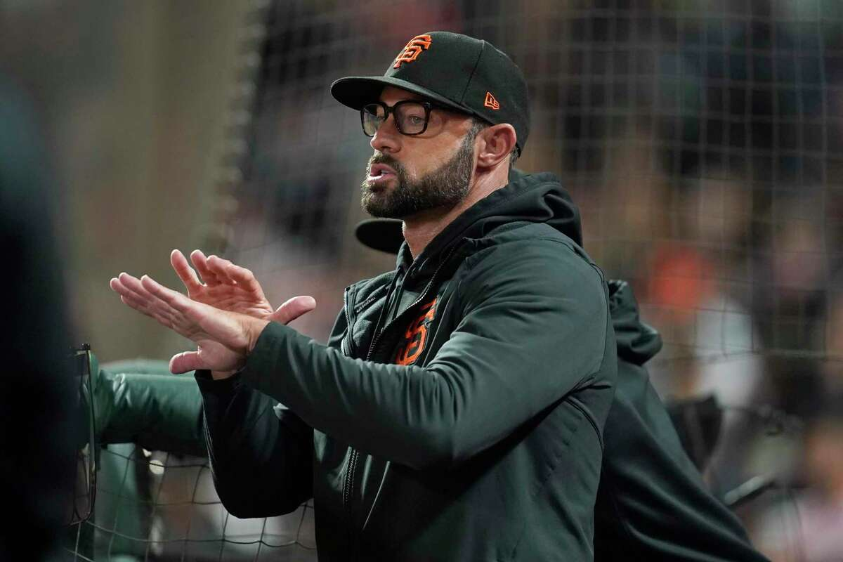 San Francisco Giants manager Gabe Kapler against the San Diego Padres during a baseball game in San Francisco, Monday, Sept. 13, 2021. (AP Photo/Jeff Chiu)