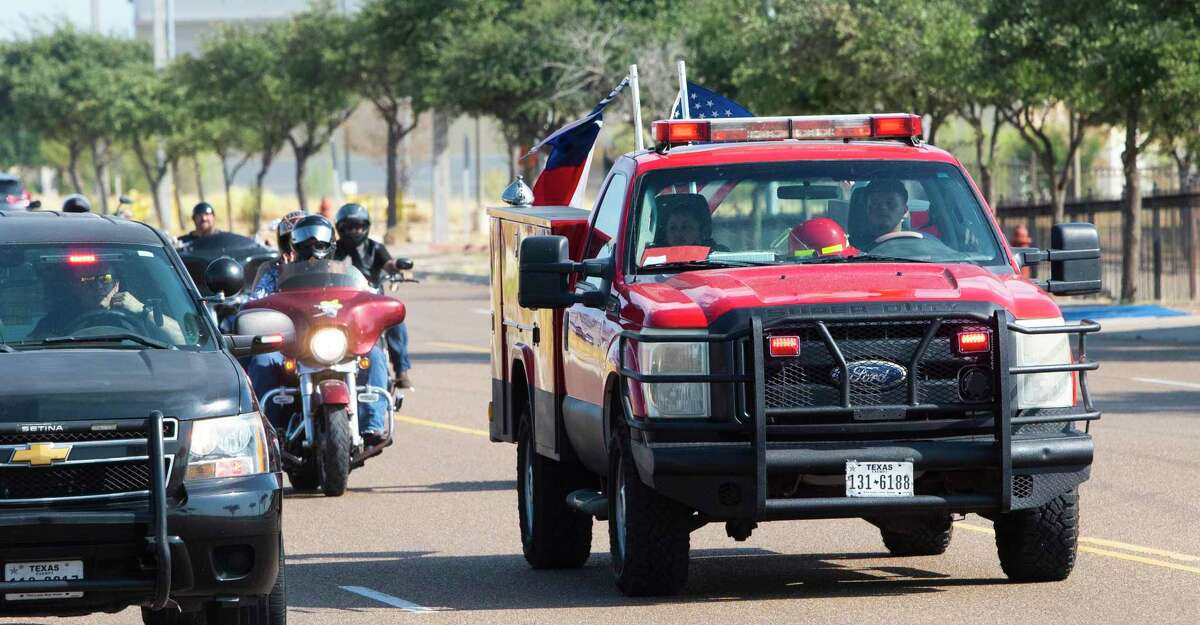 Motorcycle enthusiasts travel from Indian Motorcycle of Laredo to the El Cenizo Fire Station, Saturday, Sept. 18, 2021 as part of a fundraiser for the fire station.