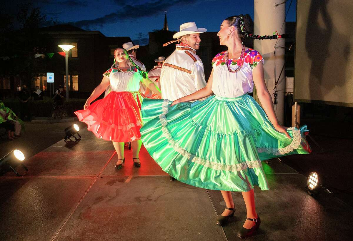 """Dancers from the Gabriela Mendoza Garica Ballet Folklorico give a performance, Sept. 16, 2021, outside the Border Heritage Museum prior to the premiere of the Webb County Heritage Foundation's video """"History & Folklore."""""""