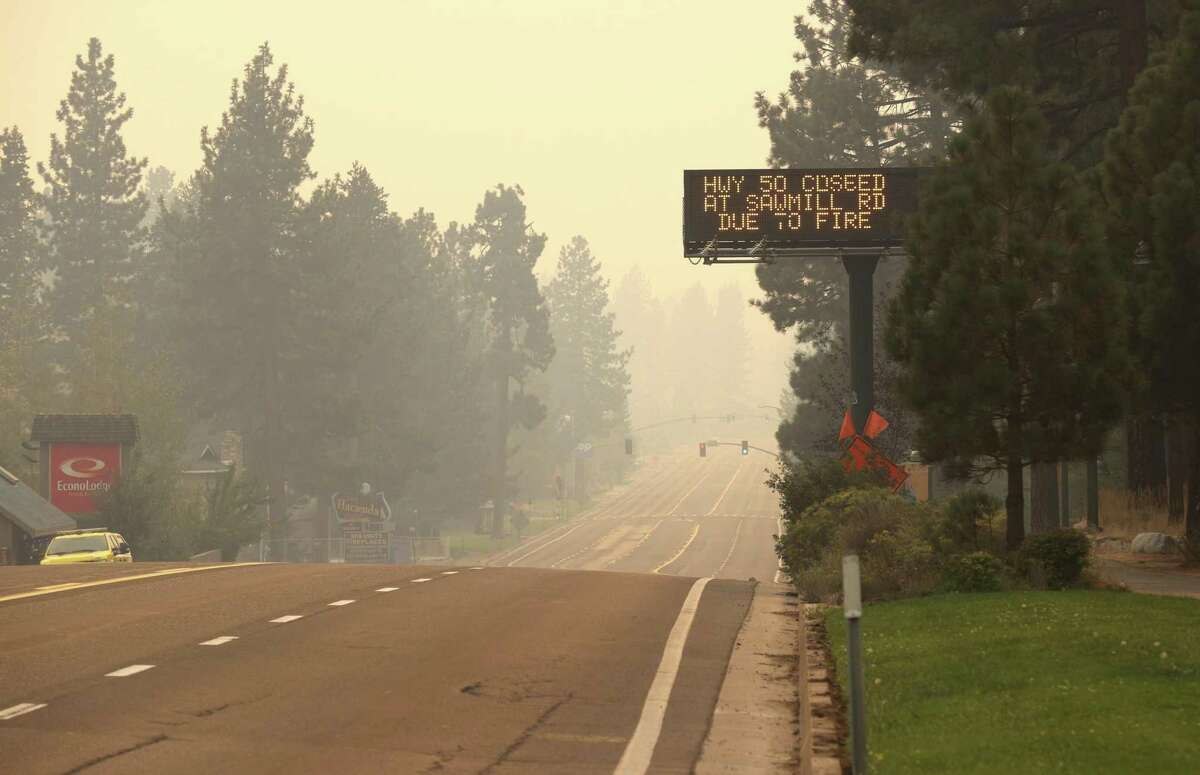 A deserted Highway 50 after South Lake Tahoe evacuated. The highway will reopen shortly to all motorists after being closed by the threat of the Caldor Fire.