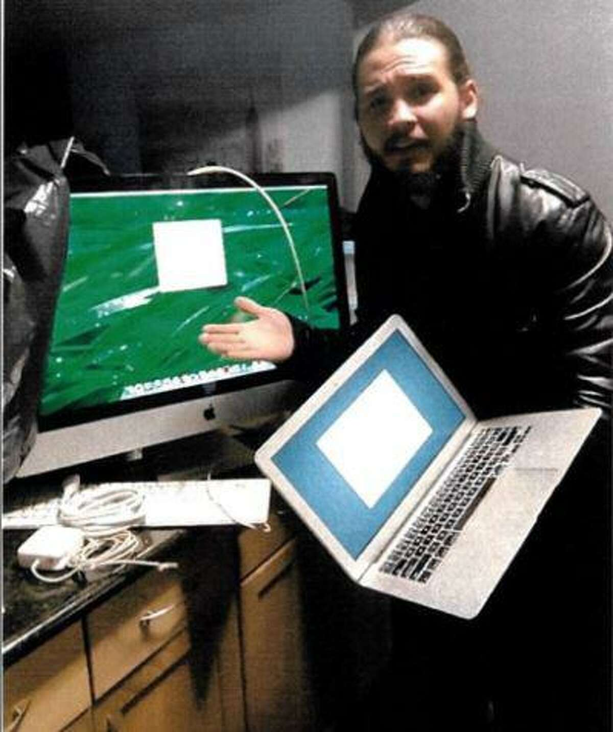 Javier Da Silva is seen with electronic items he acquired, according to federal prosecutors, following the theft of an iPad from Valerie Reyes. Da Silva pleaded guilty in the death of the 24-year-old woman and dumped her body in Greenwich in 2019.