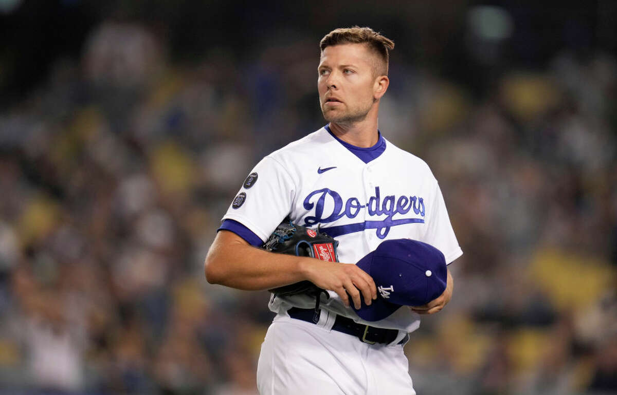 Relief pitcher Blake Treinen of the Los Angeles Dodgers against the Atlanta Braves in the eighth inning of a baseball game at Dodger Stadium on August 31, 2021.