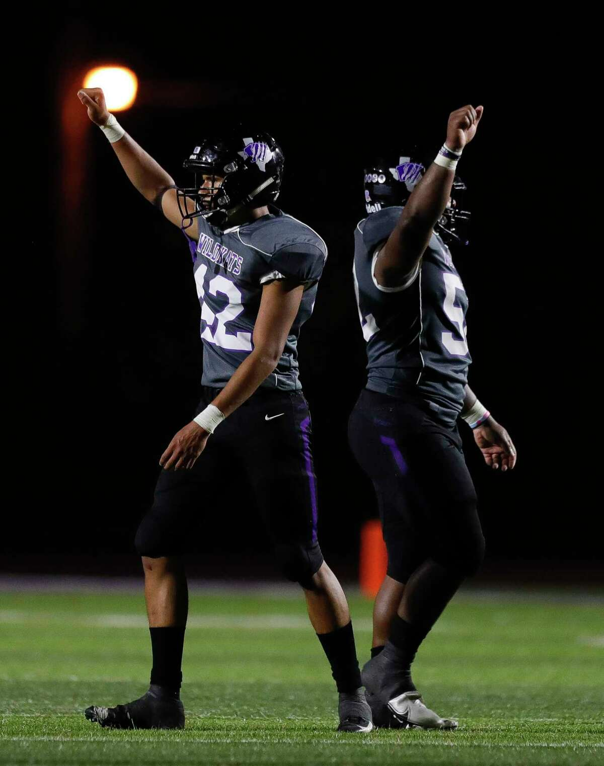 Willis defensive linemen David Soriano (42) holds up a fist after forcing a fourth down during the third quarter of a non-district high school football game at Berton A. Yates Stadium, Friday, Oct. 2, 2020, in Willis.