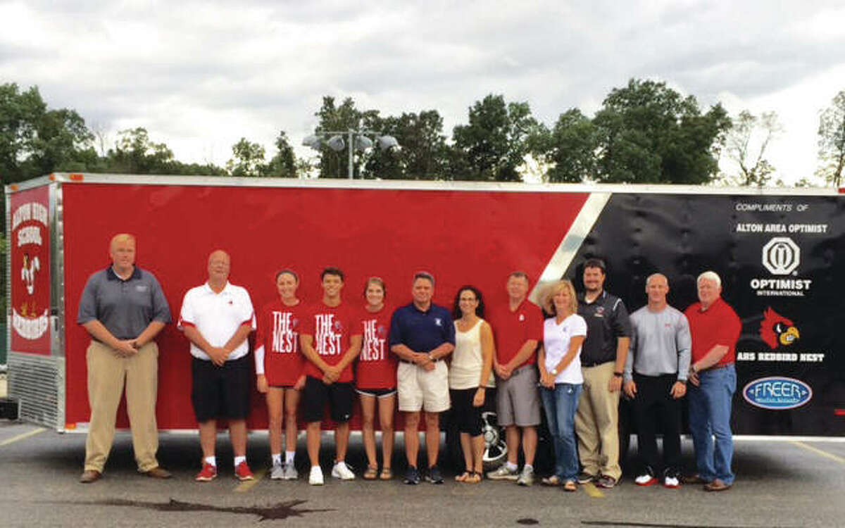 Also in 2016, the Alton High School Athletic Department received a new trailer to haul sports equipment, such as for football games and wrestling mats. Between the Alton Area Optimist Club, which ask the department its needs at the time, Freer Auto Body and AHS' Redbird Nest Spirit Organization, the department received a brand new 22-foot enclosed trailer with decals and labels courtesy of Freer Auto Body.