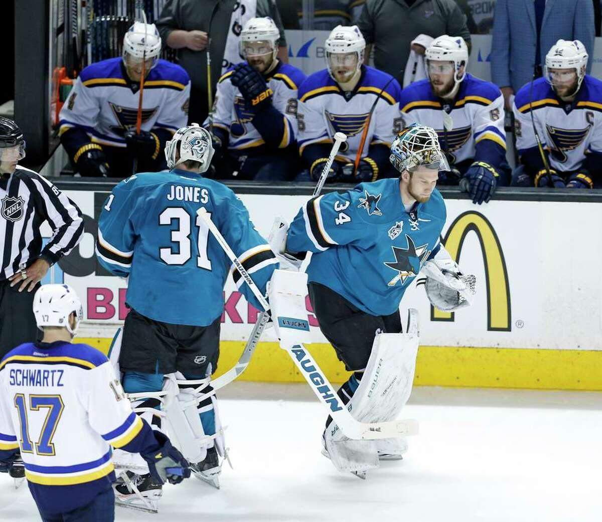 Martin Jones (31) is out in favor of James Reimer (along with Adin Hill) as the Sharks' goaltender this season.