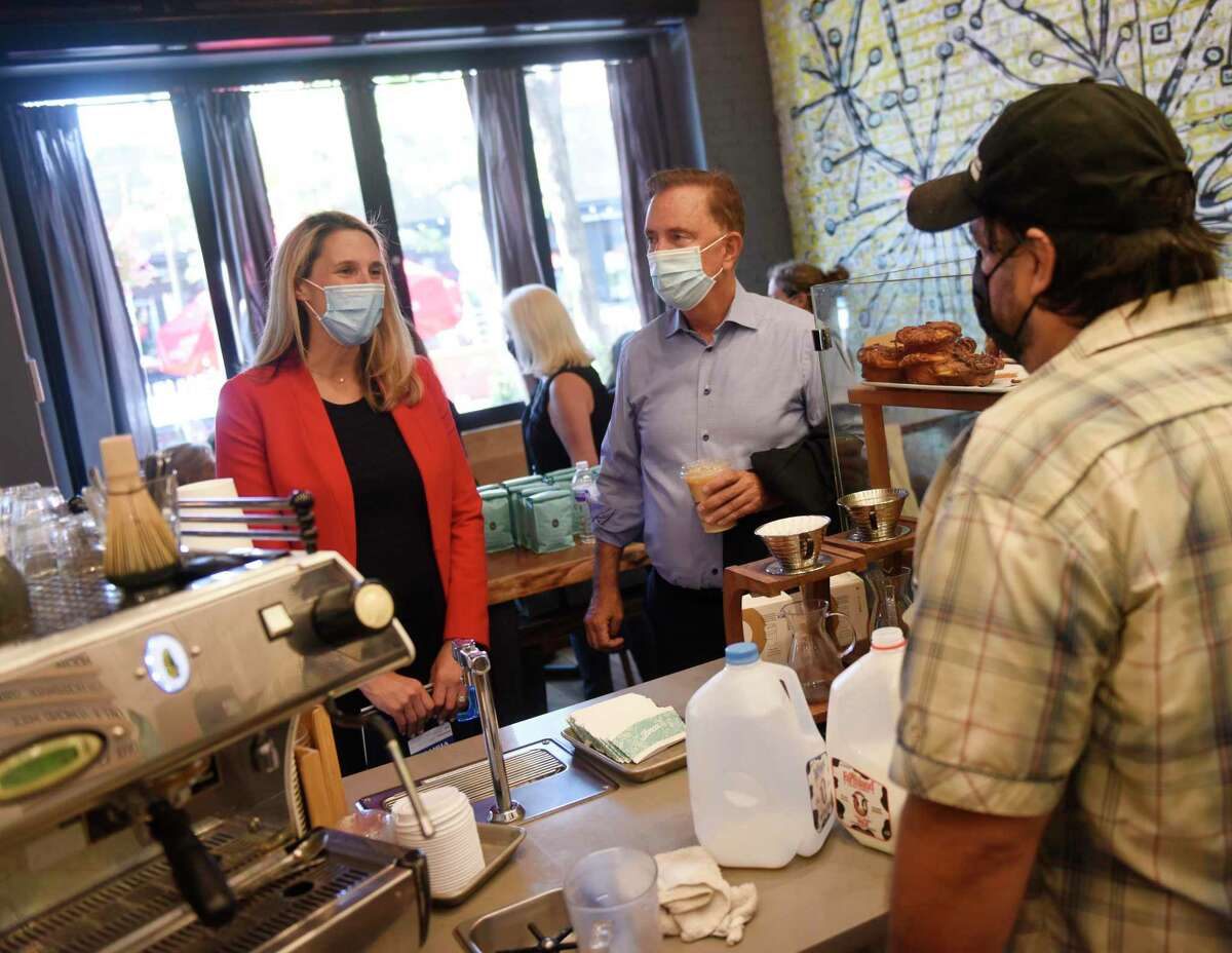 Stamford Democratic mayoral candidate Caroline Simmons and Gov. Ned Lamont visit Lorca coffee shop in Stamford on Monday. Lamont visited Stamford Monday to talk with small businesses and endorse Caroline Simmons for Mayor of Stamford.