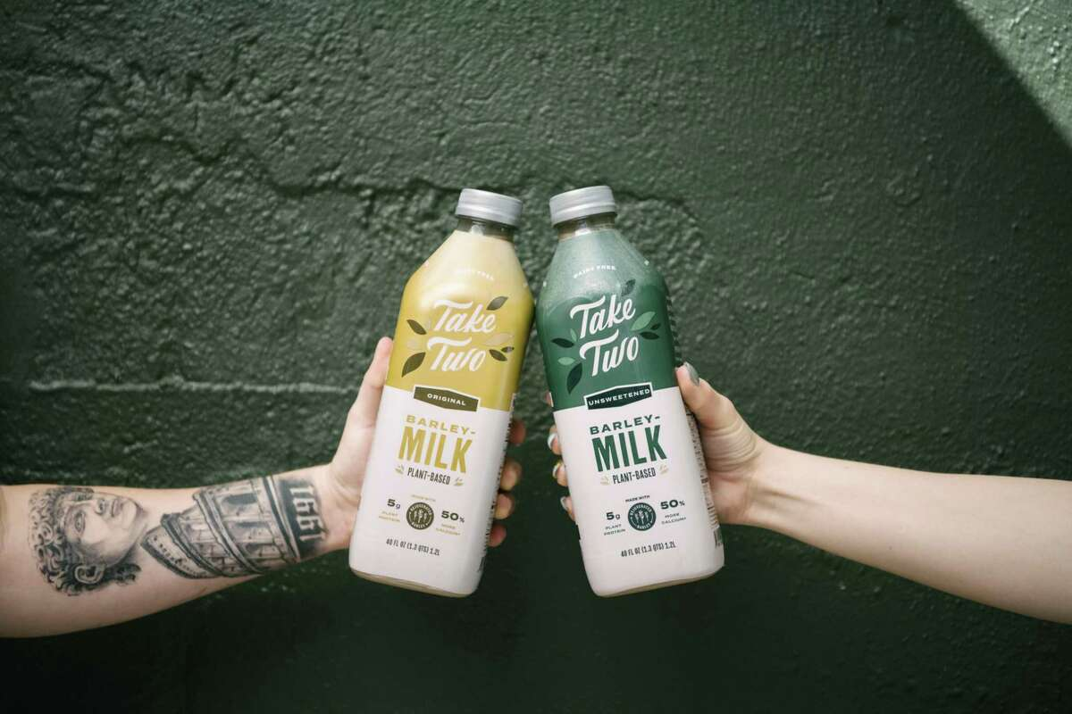 The beverage company Take Two, which launched in 2020, takes upcycled spent barley grains from the beer brewing process and transforms them into a plant-based milk, which is now available at Sprouts stores nationwide