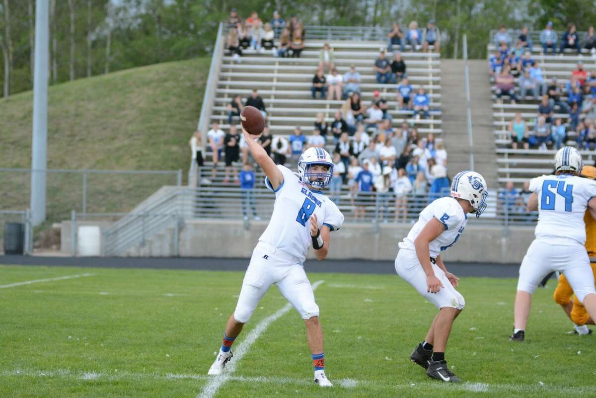 Gladwin's Nick Wheeler drops back to pass during a Sept. 17, 2021 game against Ogemaw Heights.