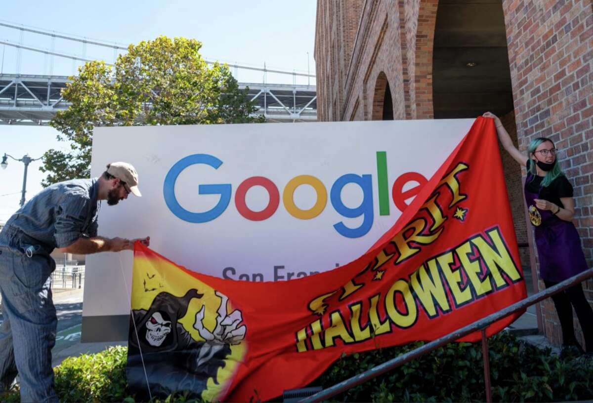 Conceptual artist Danielle Baskin temporarily installed a Spirit Halloween sign at the Google offices on Embarcadero.