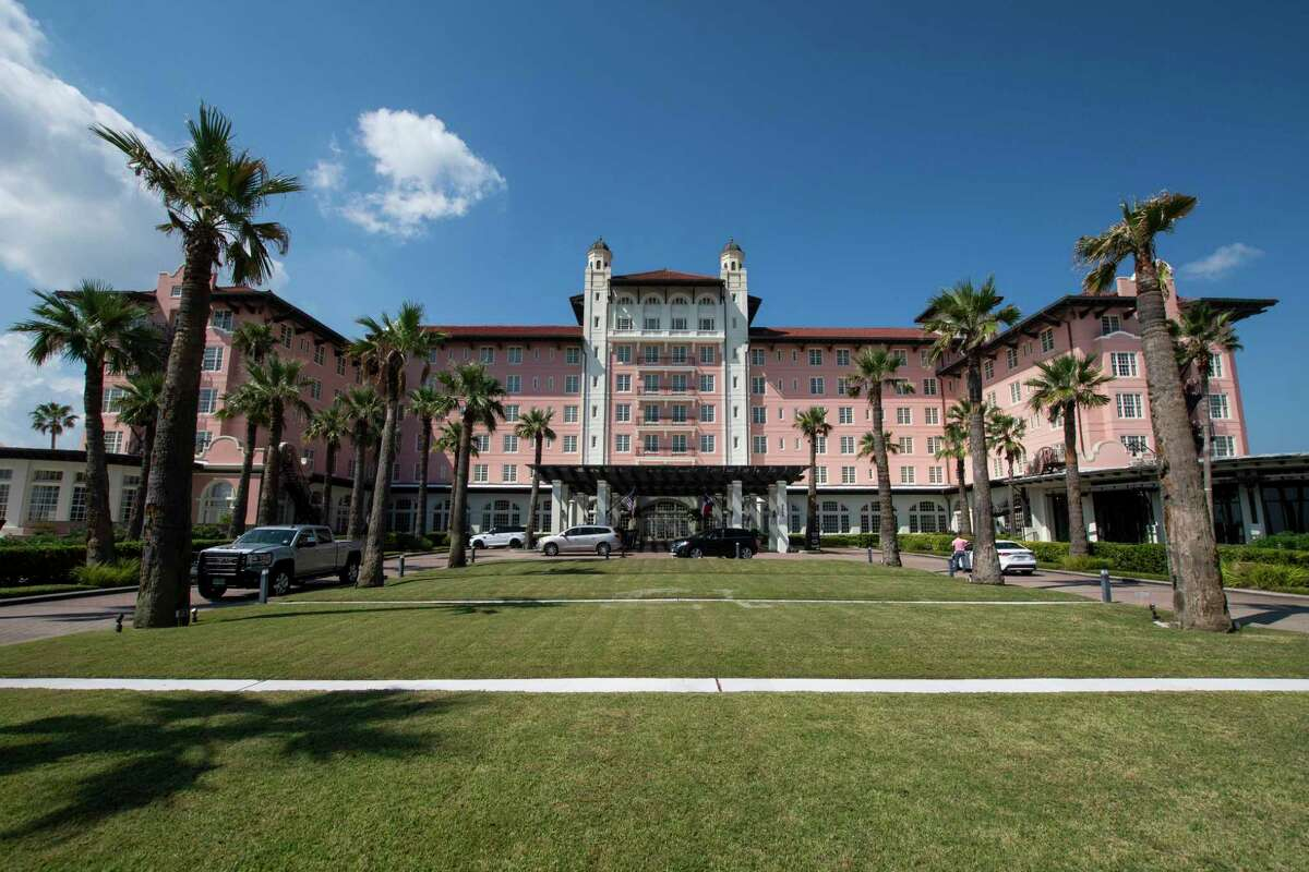 The front driveway at the Grand Galvez on Saturday, Sept.17, 2021, in Galveston, Texas.