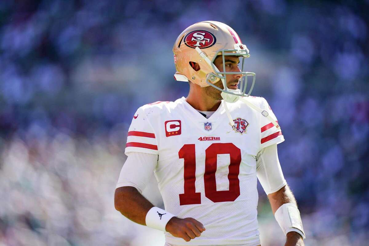 San Francisco 49ers quarterback Jimmy Garoppolo in action during an NFL football game against the Philadelphia Eagles.