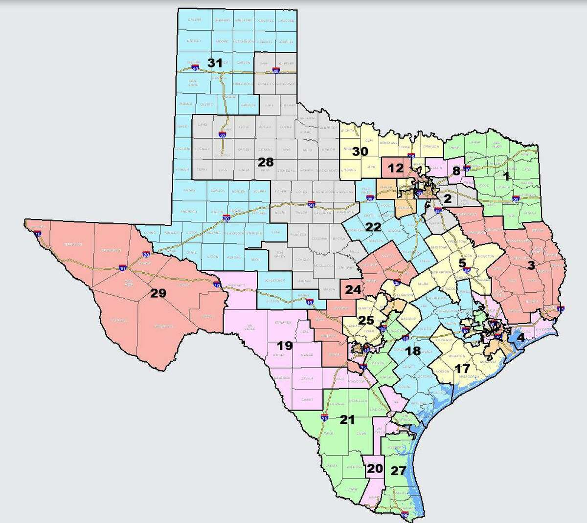 The first proposed map for new state Senate boundaries has been released to the public by state Sen. Joan Huffman, R-Houston, chairwoman of the Senate Committee on Redistricting. The Legislature is undertaking the once-a-decade redrawing of the state's political maps in a special session that began Sept. 20, 2021.