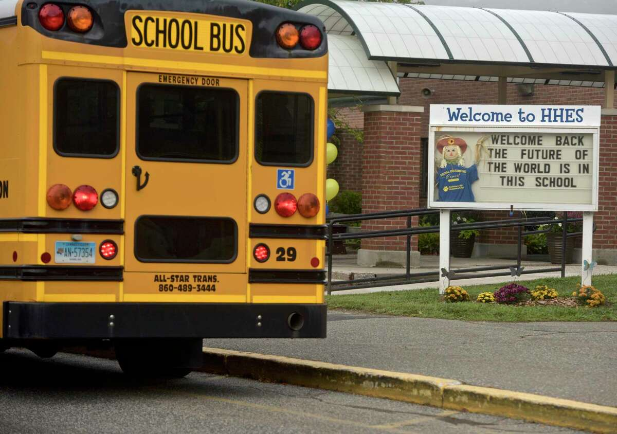 First day of new school year at Huckleberry Hill School, Brookfield, Conn. Tuesday, August 31, 2021.