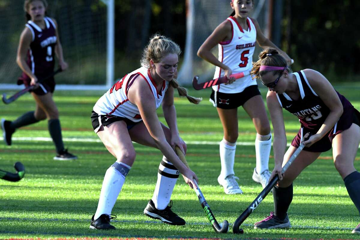 Guilderland's Meghan Collins, left, defends in a game against Burnt Hills earlier this season. Collins had a goal on Senior Day against Bethlehem on Monday, Oct. 4, 2021.