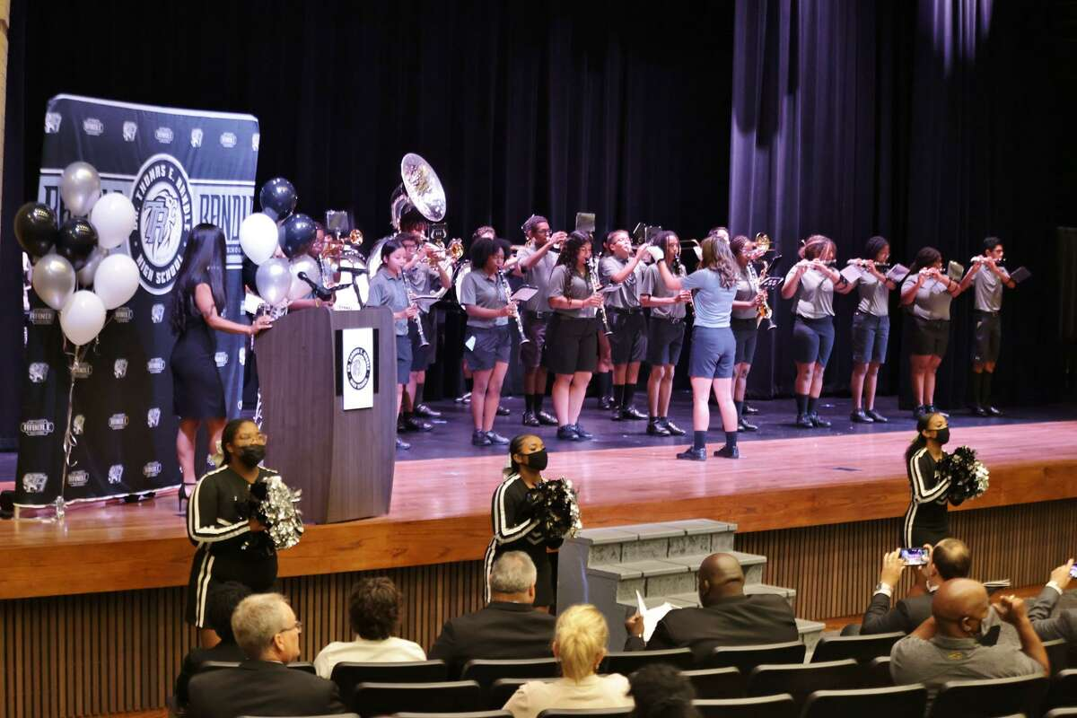 Randle High School students perform on Saturday, Sept. 18, at the dedication of the school named for former Lamar CISD superintendent Thomas E. Randle. The school is located in Richmond and opened to students in August.