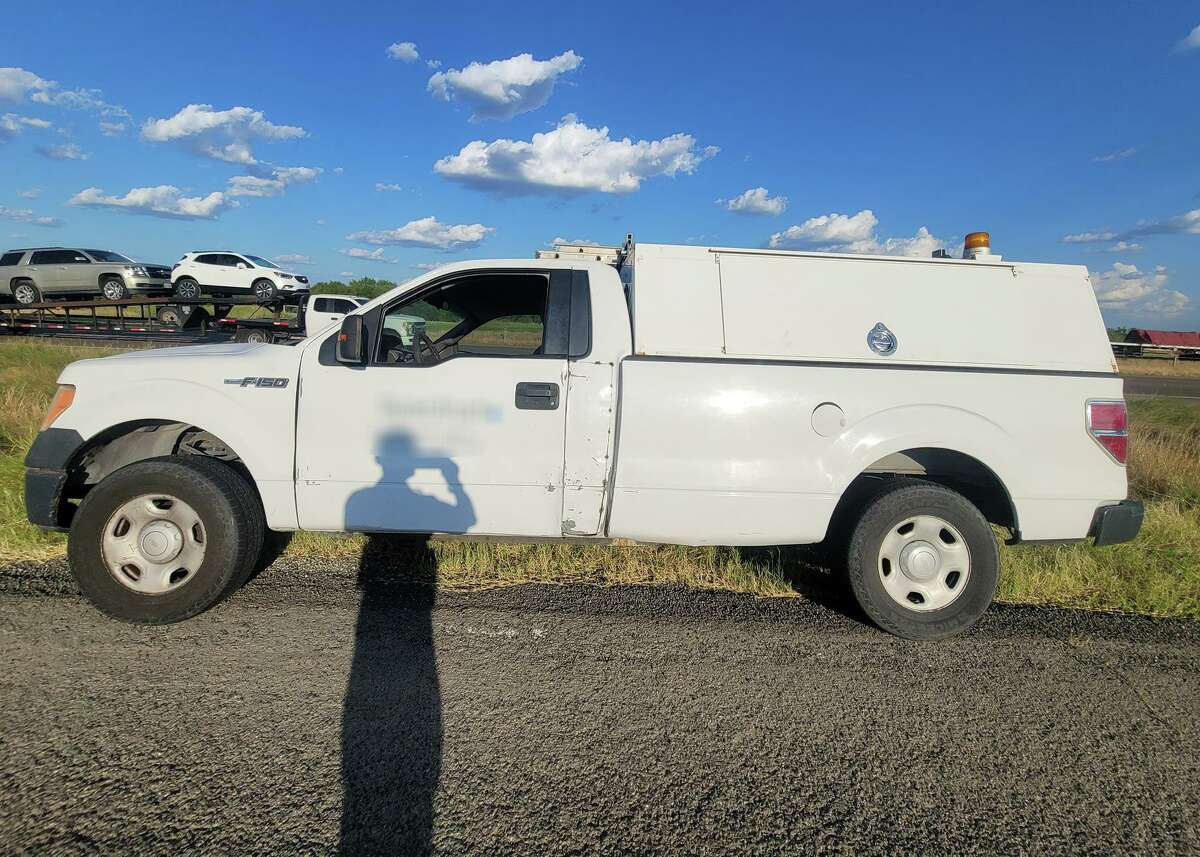 A suspected human smuggler used this service truck to attempt to transport nine migrants.
