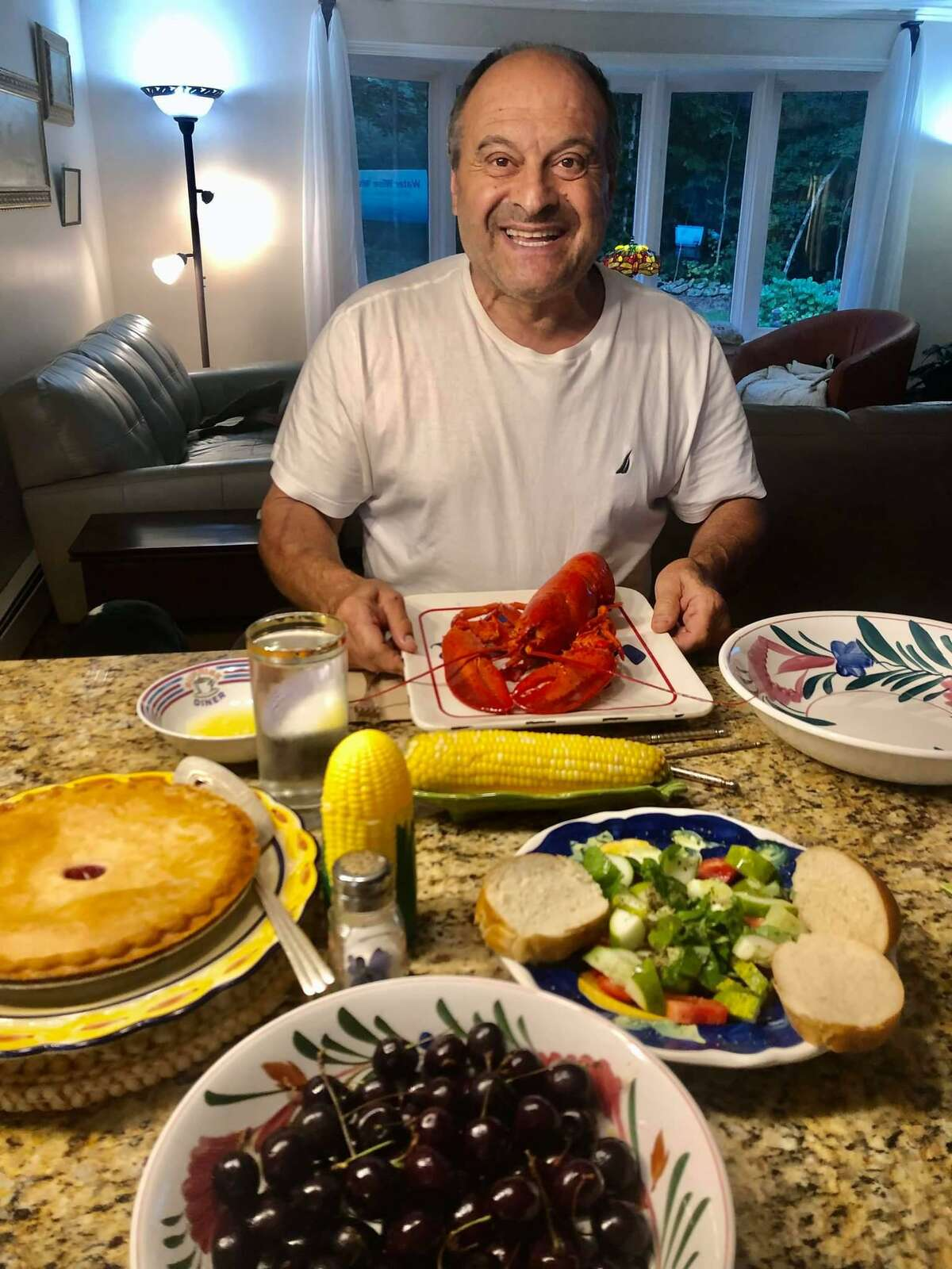 """For Labor Day, """"Our Pete,"""" as the Facebook post reads, had lobster, corn on the cob, fresh cucumber and tomato salad, cherries and cherry pie for dinner."""