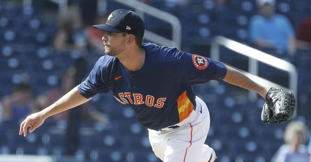 Houston Astros pitcher Seth Martinez (83) pitches during the sixth inning of an MLB spring training game at Ballpark of the Palm Beaches in West Palm Beach, Florida, Sunday, February 28, 2021.