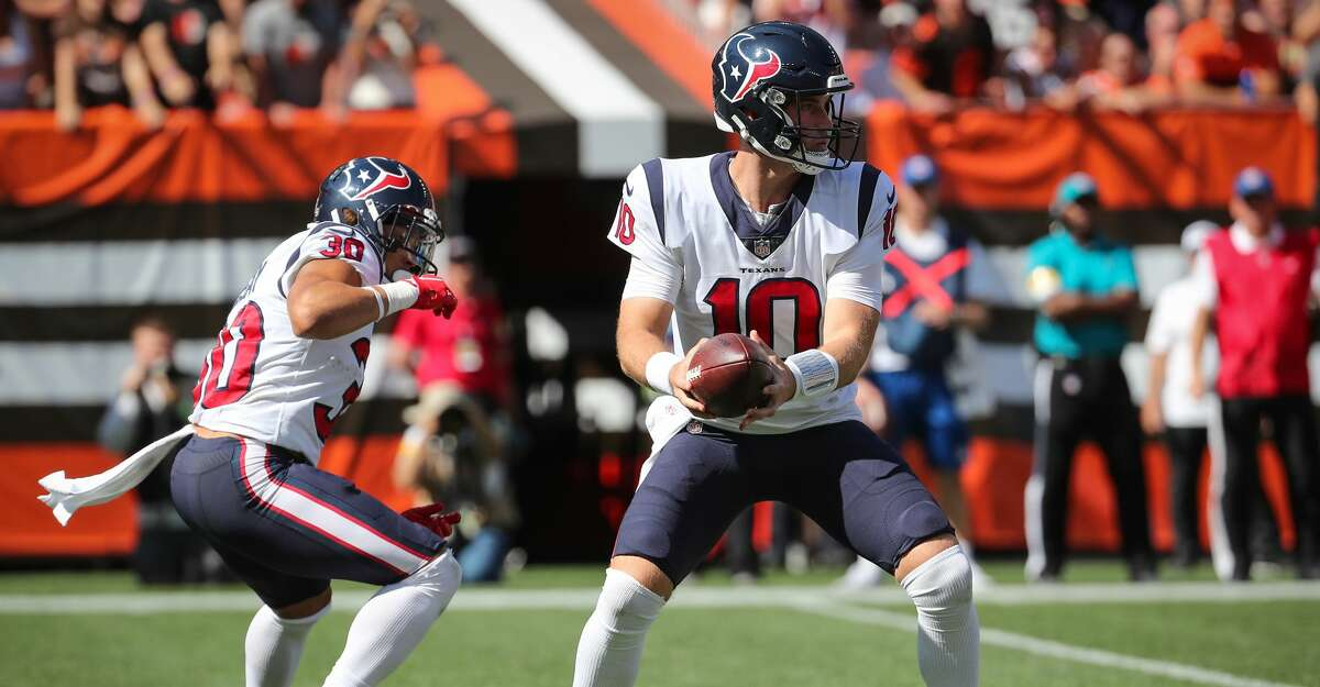 Davis Mills had some issues in his Texans regular-season debut, including getting crossed up on this handoff Sunday. On Thursday, he'll make his first start against a Panthers defense that's feasted on opposing quarterbacks this season.